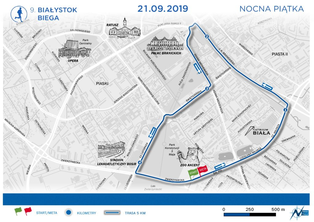 Mapa Białystok Biega Nocna Piątka 2019