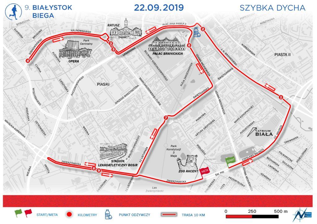 Mapa Białystok Biega Szybka Dycha 2019